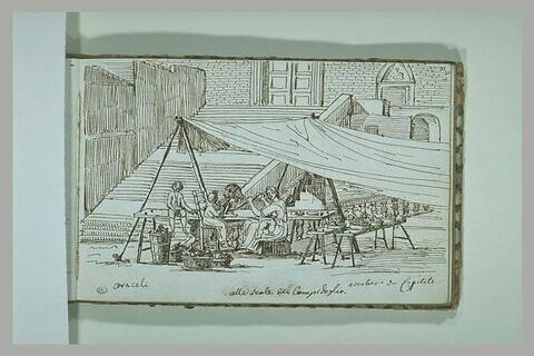 Groupe de personnages sous une tente, sur les escaliers du Capitole, à Rome