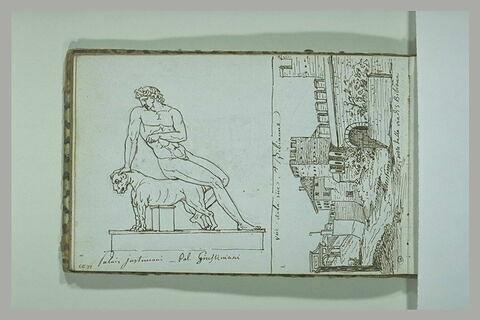 Vue de la rue Sainte-Bibianne ; sculpture du palais Giustiniani