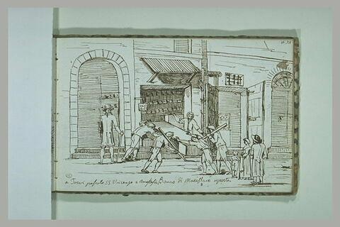 Groupe de personnages devant un magasin