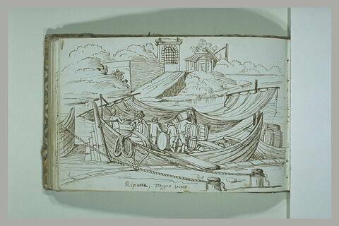 Personnages sur une embarcation, à Ripetta