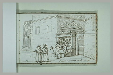 Groupe de personnage devant un bâtiment, place Saint-Antoine