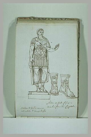Statue de Jules César dans la cour du Capitole ; reprise des pieds
