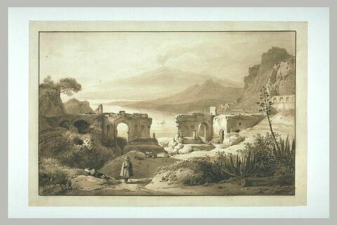 Ruines du théâtre de Taormine, en Sicile