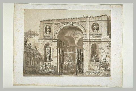 Porte monumentale antique ouvrant sur une salle en rotonde