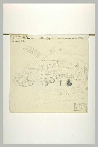 Vue d'une crique, surmontée d'une construction fortifiée, et annotations