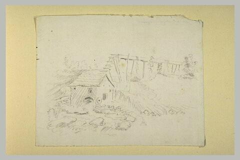 Moulin et conduite d'eau dans un paysage de maquis