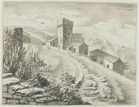 Maisons et une tour dans les montagnes parfois amenagées en terrasses