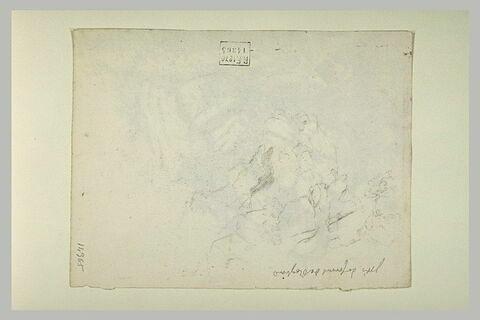 Note manuscrite et esquisse d'arbres