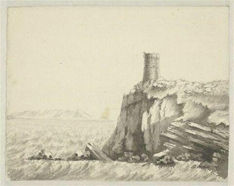 Promontoire dominé d'une tour, sur la mer