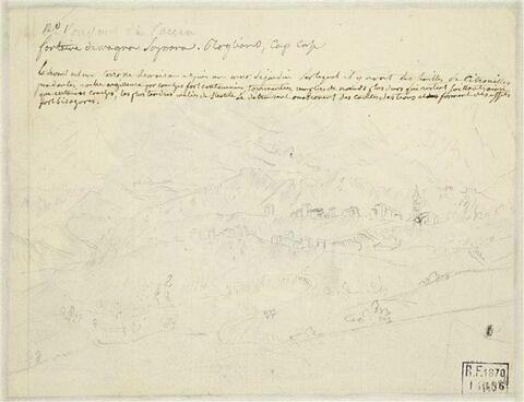 Note manuscrite, et paysage avec des maisons