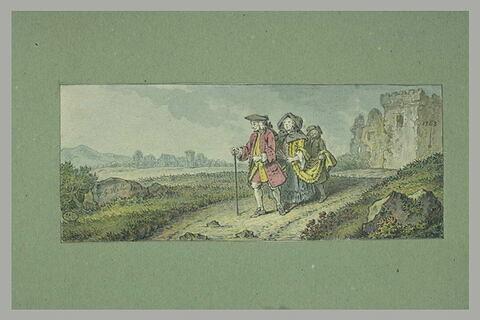 Vieux couple suivi d'un laquais