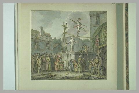 Danseur de corde donnant une représentation dans un village
