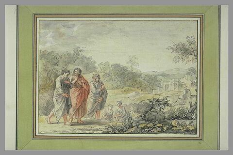 Trois personnages vêtus, à l'antique, conversant, dans un paysage