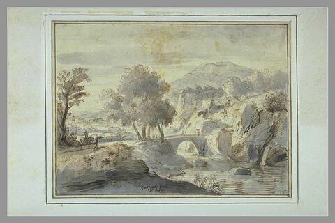 Paysage avec une rivière que franchit un pont