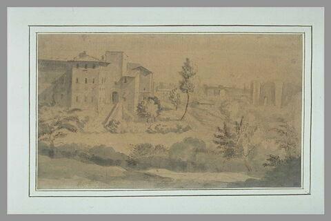 Paysage romain avec au second plan un palais