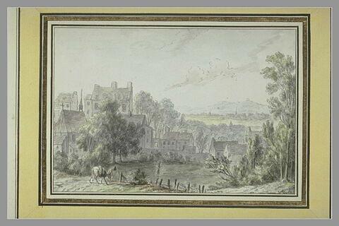 Une plaine, avec un village au premier plan