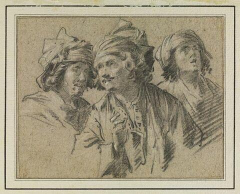 Trois hommes, vus à mi-corps, coiffés de turbans