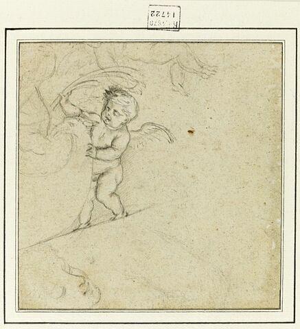 Enfant avec palme, et posant la main sur une tête d'oiseau