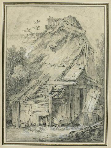 Chaumière en bois délabrée et abandonnée