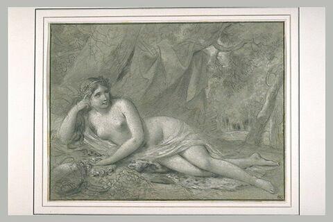 Femme nue, couchée sous des arbres