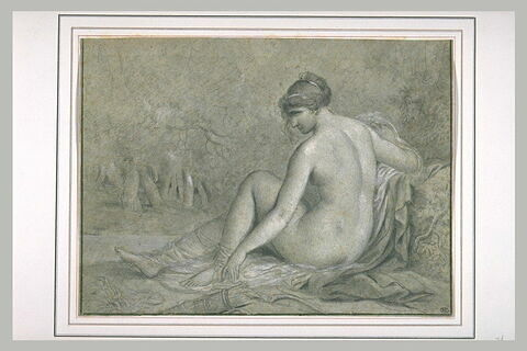 Femme nue, assise, de dos, un carquois posé à côté d'elle : Diane (?)