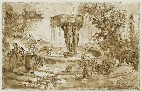 Femmes et enfants près d'une fontaine, ornée d'une vasque