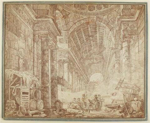 Femme faisant la lessive à l'intérieur d'une riche construction antique
