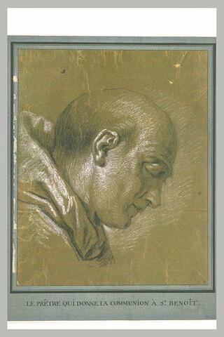 Tête d'homme, de profil, penché vers la droite. Etude pour le prêtre donnant la dernière communion à saint Benoît