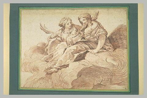 Deux figures allégoriques assises sur des nuées, tenant une palme