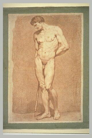 Homme nu, debout, tenant une pique