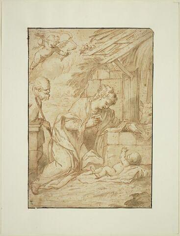 Saint Joseph et la Vierge contemplant l'Enfant