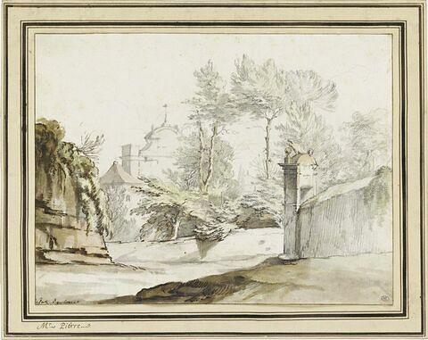 La Fontaine de l'Acqua Paola à Rome, vue par l'arrière