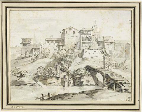 Vue de maisons dominant un embarcadère sur les bords du Tibre à Rome