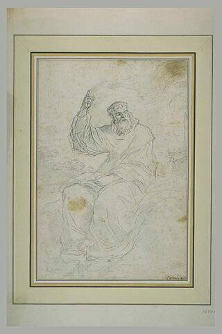 Homme barbu, vêtu d'une robe, assis, un livre sur les genoux