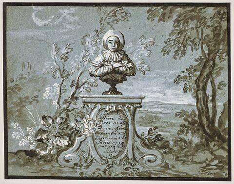 Frontispice : buste de Gilles sur un piédestal, dans un paysage