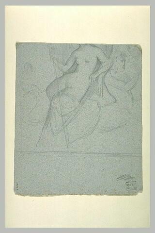 Femme nue, assise, tenant un bâton, et centaure