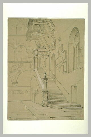 Cour et escalier du Bargello à Florence