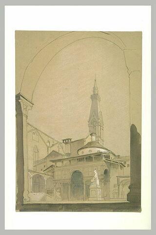 Façade de la chapelle des Pazzi, à Florence, et vue de Santa Croce