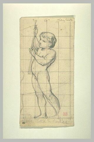 Enfant nu, tenant une tablette