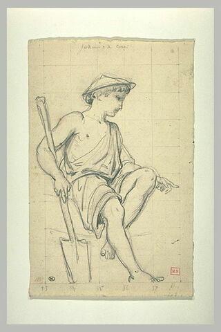 Jeune garçon, à demi-vêtu d'une tunique, tenant une bêche
