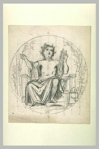 Enfant couronné de laurier tenant une lyre et une petite baguette