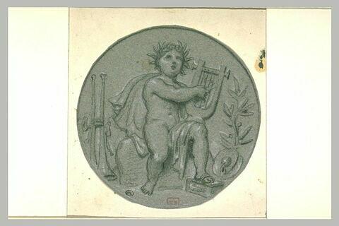 Enfant couronné de laurier jouant d'une lyre