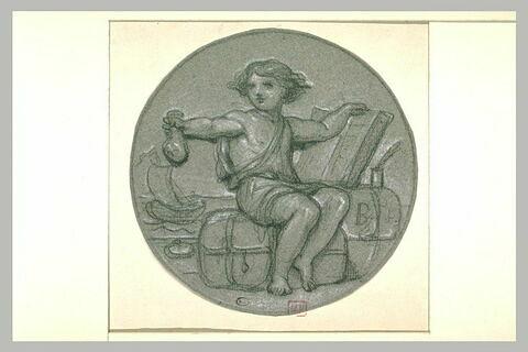 Enfant vêtu d'une courte tunique, tenant un registre et une bourse