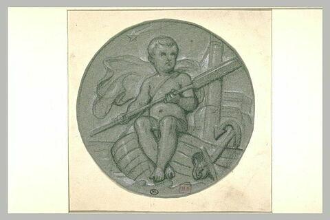 Enfant nu, assis dans une barque, une rame aux mains