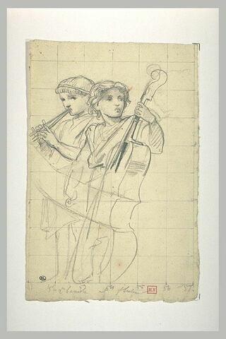 Deux enfants, l'un jouant d'une double flûte, l'autre d'une contrebasse