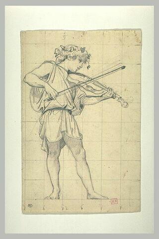 Jeune garçon couronné de feuillage, jouant du violon