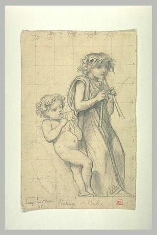 Jeune fille, vêtue, jouant d'une double flûte, et un enfant nu