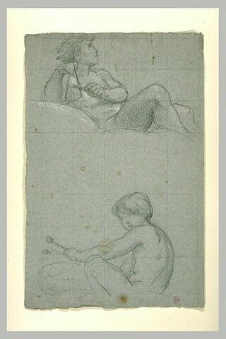 Jeune homme nu, couché, jouant du triangle, et jeune fille nue