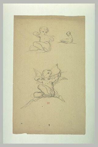 Deux études d'amour bandant un arc et enfant assis lisant
