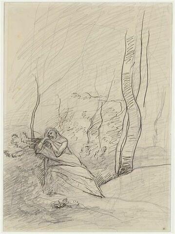Jeune femme à l'air affligé, à demi étendue dans un bois